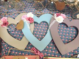 Wooden Hearts Hand Decorated with Flowers