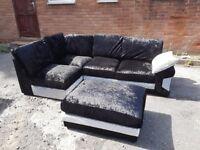 Stunning BRAND NEW black crushed velvet corner sofa and footstool,can deliver