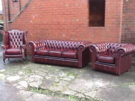 Leather chesterfield 3 piece suite oxblood red leather IMMACULATE STUNNING CONDITION CAN DELIVER