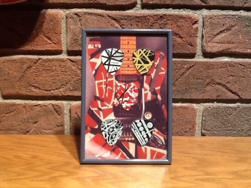 Van Halen (5) Guitar Picks Display Frame!!! EVH picks included!!!