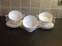 White porcelain dishes.