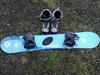 Ladies Ride snowboard 148cm, boots and bindings