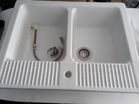 Large Twin Basin Porcelain Sink Unit - (Mint condition, never been used)