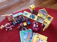 PEPPA PIG toy bundle - house, school, digger, helicopter, car, books and lots of figures