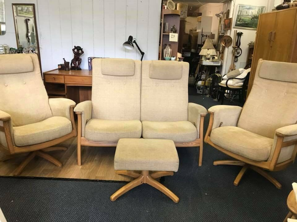 Ercol Gina Three Piece Suite Two Seater Recliner Recliners And Footstool