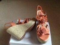 Size 4 orange wedge sandals