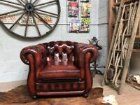 Chesterfield Vintage Leather Armchair Ox Blood