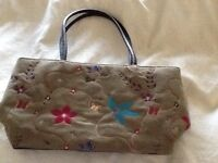 Ladies suede leather two handled handbag in very good condition