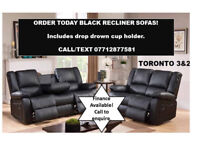BLACK RECLINER SOFAS 3 AND 2..
