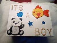 wooden baby boy keepsake box