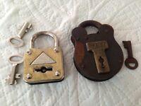 TWO vintage locks with keys.
