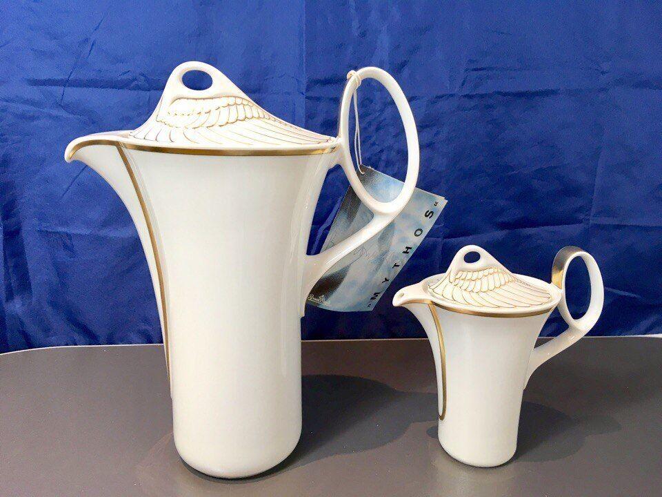 Rosenthal Mythos Gold Coffee Pot + Creamer - Kaffeekanne + Milchkännchen NEW