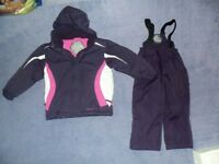 Girls 2-3 years ski jacket and salopettes parallel purple