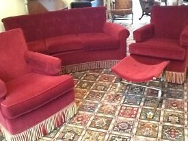 Curved antique style sofa two armchairs and matching foot stall
