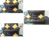 Scs lovely and comfy leather black 3 seater and 2 seater sofas Ultimate comfort DETAILS BELOW