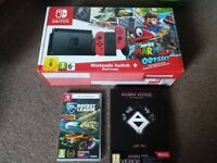 Solid Red Mario Odyssey Nintendo Switch Console plus 2x games