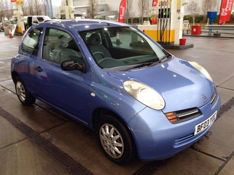 2003 03 reg nissan micra 1 2 s petrol manual 3 door metallic blue march 2017 mot in. Black Bedroom Furniture Sets. Home Design Ideas
