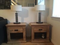 2 good quality side tables metal runners in drawers and 2 lovely lamps