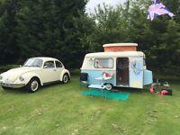 NOW SOLD Eriba Puck 1975 Vintage Caravan - lightweight tow by small car, VW Beetle Campervan