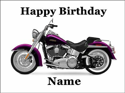 HARLEY DAVIDSON MOTORCYCLE PINK A4 Edible Icing Birthday Cake Decoration - Harley Davidson Birthday Decorations