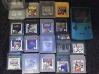 Game b color console ,accessories and 18 games
