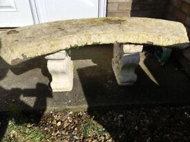 heavy concrete half moon seat in good condition