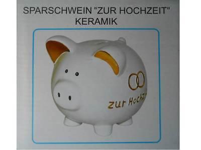 Großes Sparschwein Hochzeit ca.15x15x14cm Geldgeschenk Spardose Keramik weiß OVP
