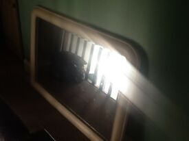 Large mirror with painted wooden surround, approx 4' x3'