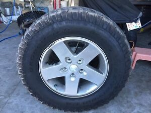 4 BF Goodrich Mud tires and Jeep Rims 255/75R17 75% tread left