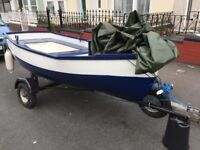 10 foot FISHING BOAT ON TRAILER WITH 3HP OUTBOARD MOTOR and OARS