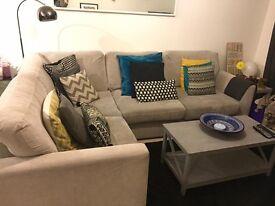 Light Grey Fabric Corner Sofa