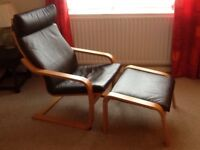 Brown Leather IKEA Chair and stool