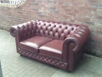 2 seater leather chesterfield sofa