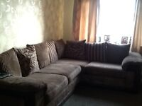 DFS right hand corner sofa brown soft cord very good condition £250