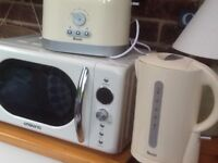 Cream microwave, and matching kettle and toaster