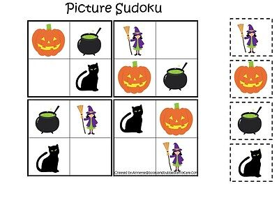 Halloween themed Picture Sudoku Laminated Game.  Preschool Math Activity.