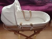 BEAUTIFUL WHITE MOTHER CARE MOSES BASKET AND STAND. USED TWICE
