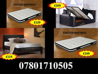 BED NEW DOUBLE LEATHER OR CRUSHED VELVET BED + MATTRESS MATTRESSES 875