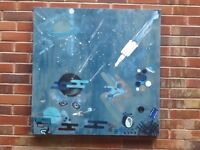 "Abstract art ""Spaceman"" An Orignal Hand painted Canvas 90 x90cm"