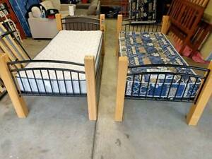 2x Single Beds Can Be Used As Bunk Beds Frame Mattress Bedroom