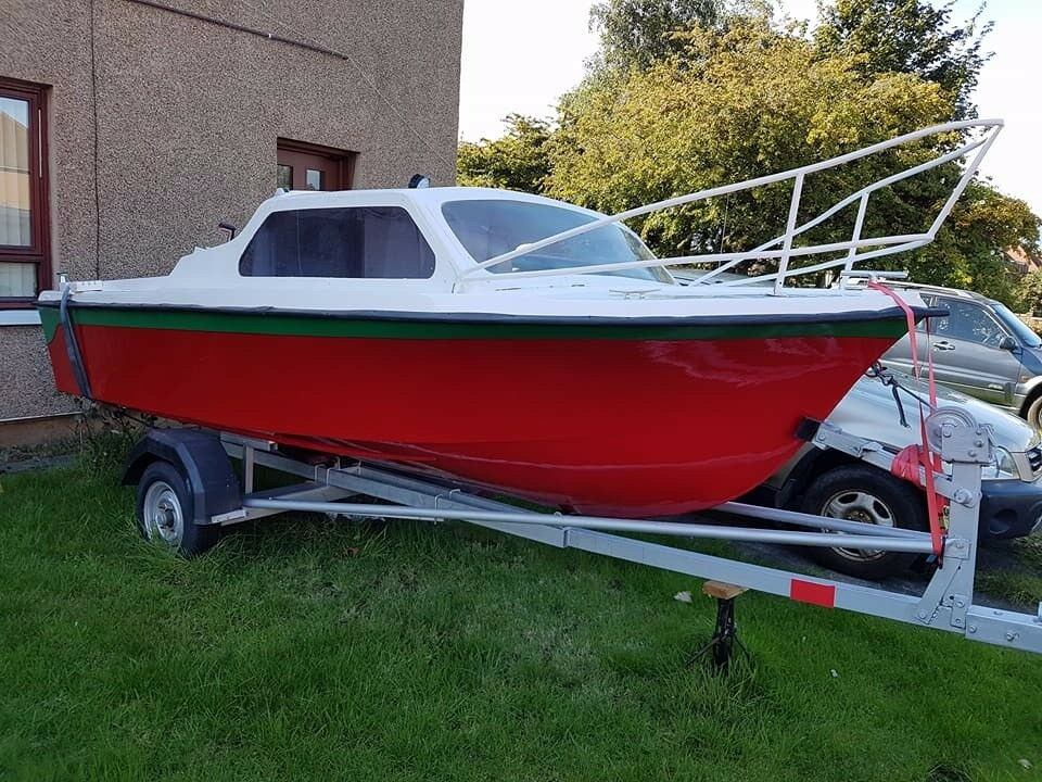 FISHING BOAT with CABIN and TRAILER