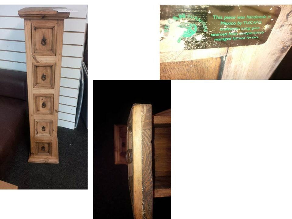 TUCANS SOLID WOOD 5 DRAWER CABINET HANDMADE IN MEXICO THICK SOLID WOOD REALLY NICE SIZE BELOW