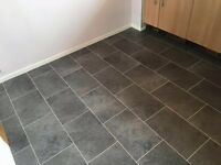 Vinyl black slate tile effect