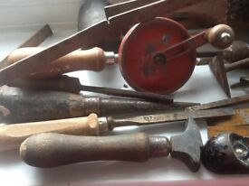 Collection of old woodwork tools