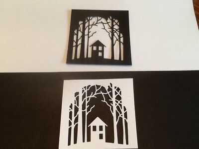 6 x House in the wood silhouette die cuts. **FREE UK POSTAGE**
