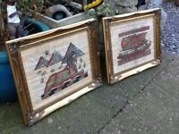 Pair of Egyptian parchment pictures