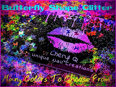BUTTERFLY Glitter⭐U Choose Color~Nail Art•Acrylic•Gel•Body Art•Face•Festival