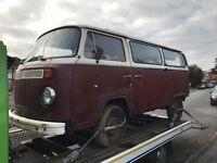 volkswagen t2 bay window tin top camper van