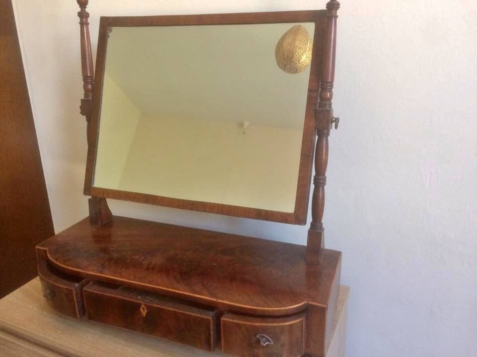 Vintage Retro Walnut Tabletop Vanity Unit With Mirror And Drawers