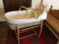 John Lewis Moses basket and Mamas and Papas rocking stand